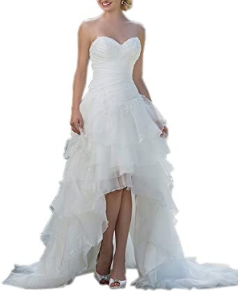 Kimbridal Sexy High Low Beach Wedding Dress For Bride Organza