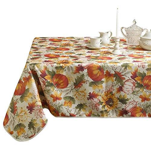 European Fall Harvest Pumpkins and Autumn Leaves Printed Tablecloth - 52