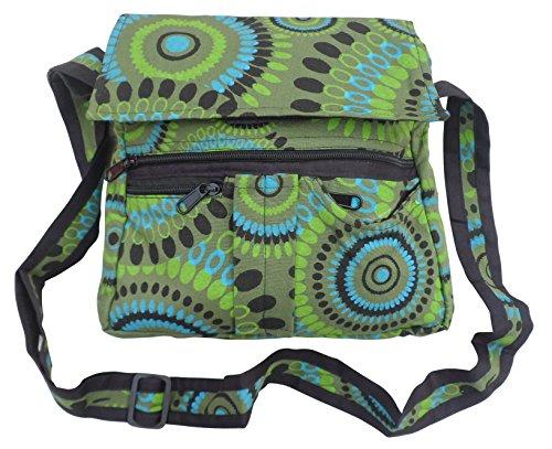 Cotton Mix Green Boho Printed Fair Bag Shoulder Trade Travel Hippy RnOOBW