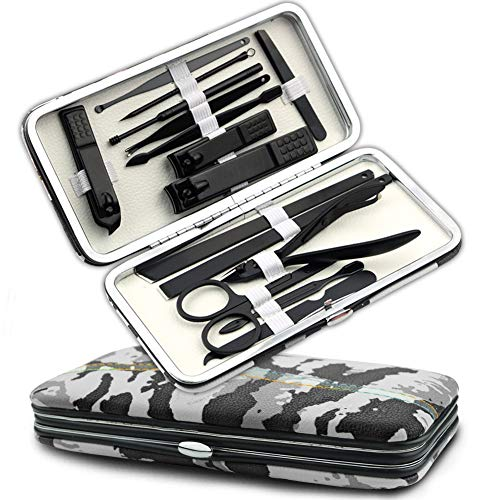 Professional Nail Clipper Set Manicure Sets Pedicure Kit - 15 PCS Personal Grooming Tools in Exquisite Travel Case for Men and Women ...