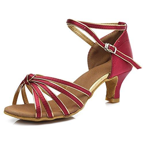 Standard Rouge De Satin Chacha 217 Ballroom Moderne Fonc Latin Danse Femmes S7 Chaussures Hroyl Pour Samba 5cm qtw5ZZ
