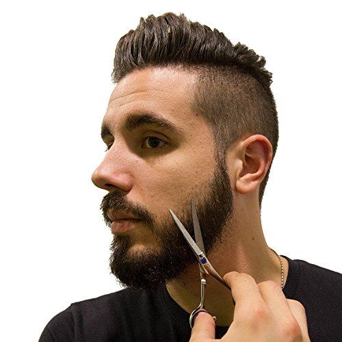 Beard Scissors Kit for Men (5 pcs) | 5'' Professional Beard/Hair Scissors (Japanese Stainless Steel), Travel Size Precision Beard/Mustache Scissor, Pocket Wood Comb, Master Barber Comb, and PU Case Set by Aberlite (Image #8)
