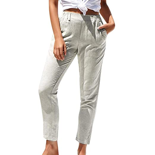 Kaicran Womens Casual Comfort Plus Size Elastic Waist Pant Ladies ...