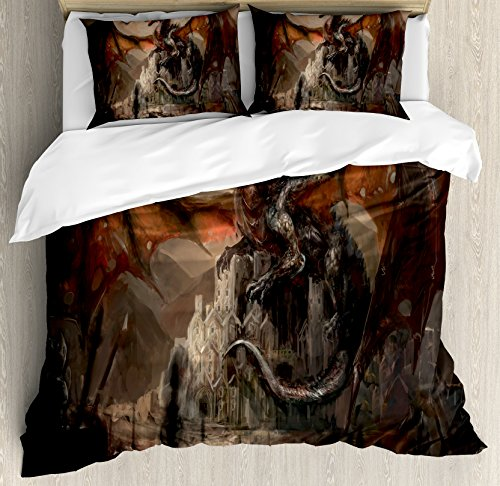 Dragon Duvet Cover Set King Size by Ambesonne, Medieval Fight with Gothic Monster Horror War Middle Age Style Vintage Print, Decorative 3 Piece Bedding Set with 2 Pillow Shams, Umber Tan (Dragon Comforter Set)