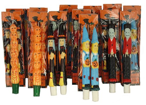 CC Christmas Decor Pack of 144 Halloween Witch, Scarecrow, Pumpkin and Frankenstein Taper Candles