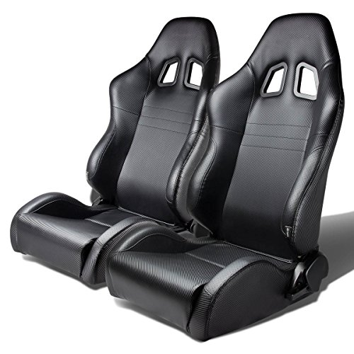 Pair of Full Reclinable PVC Leather (Carbon Look) Racing Seat+Adjustable Sliders