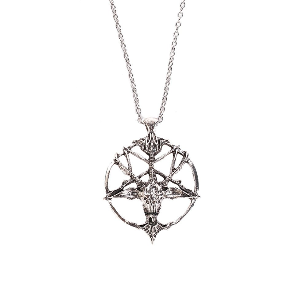 Hmlai Necklace for Women, Lady Retro Art Skull Head Necklace Pendant Necklace Choker Jewelry(Silver)
