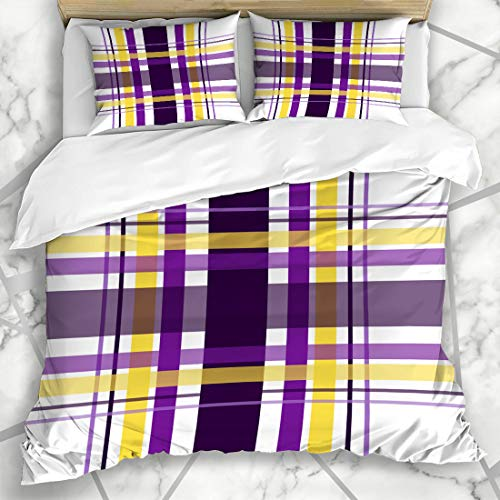 Ahawoso Duvet Cover Sets King 90x104 Surface Blue Black Plaid Checkered Pattern Abstract Minnesota Purple Check Creative Flannel Football Microfiber Bedding with 2 Pillow Shams ()