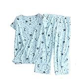 Amoy madrola Women Cotton Sleepwear/Short Sets/Pajamas Set SY215-Blue Star-XL