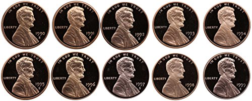 1990-1999 S Lincoln Memorial Cent Gem Deep Cameo Proof Run 10 Coin Set US Mint Penny Lot Complete 1990's Set ()