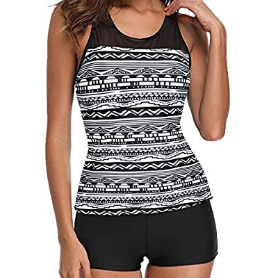 Yonique Racerback Tankini Swimsuit with Shorts Two Piece Athletic Bathing Suit for Women: Clothing