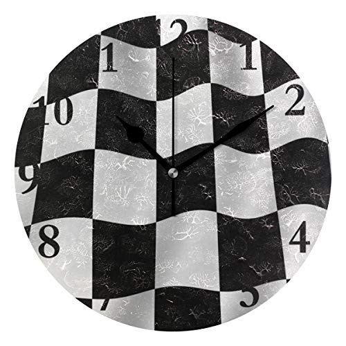 - NMCEO Wall Clock Checkered Flag Round Hanging Clock Acrylic Battery Operated Wall Clocks for Home Decor Creative