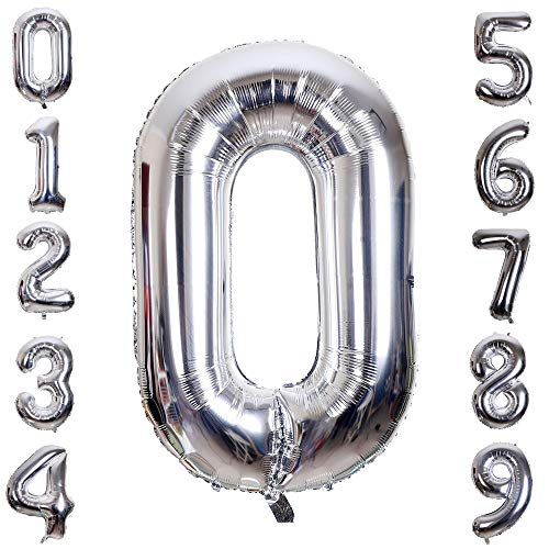 Hotshots2019 40 Inch Large Silver Balloon Number 0 Balloon Helium Foil Mylar Balloons Party Festival Decorations Birthday Anniversary Party -