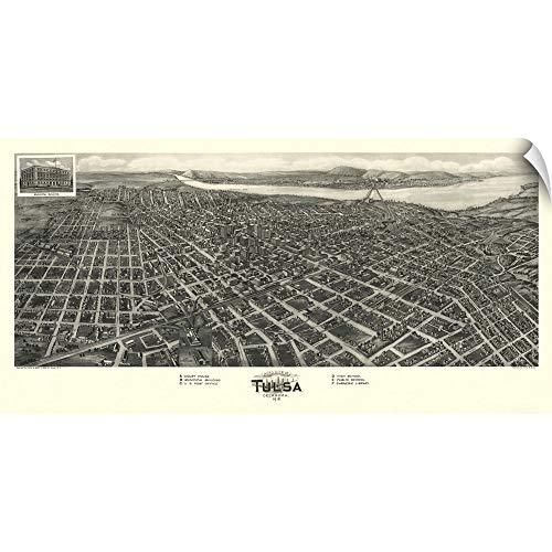 Peel Oklahoma - CANVAS ON DEMAND Vintage Birds Eye View Map of Tulsa, Oklahoma Wall Peel Art Print, 30