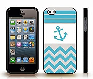 iStar Cases? iPhone 4 Case with Chevron Pattern Light Blue/ Grey Stripes Blue Anchor , Snap-on Cover, Hard Carrying Case (Black)