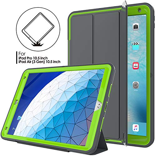 iPad Air 3 Case, SEYMAC stock Three Layer Protect Smart Cover Auto Sleep Wake Leather Stand Feature & Heavy Duty Protective Case for iPad Air 3rd Generation 10.5