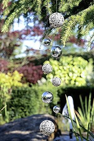 Geschenk Hänger Garten 1 x Girlande Globe Edelstahl m 4 Kugeln Gartendeko