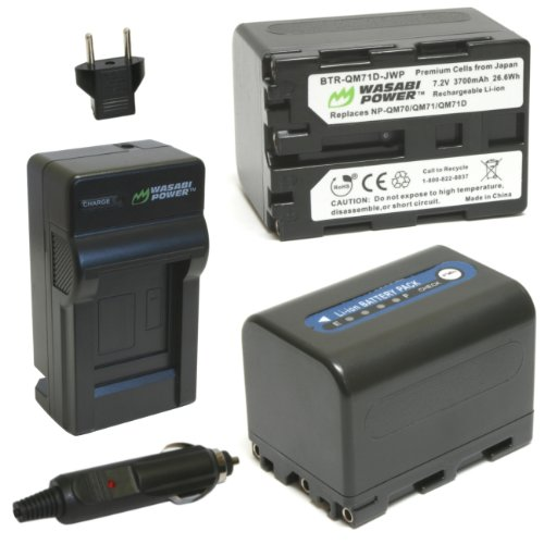 Wasabi Power Battery (2-Pack) and Charger for Sony NP-QM7...