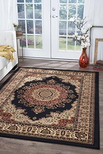 (Fiona Traditional Oriental Black Rectangle Area Rug, 8' x 10')