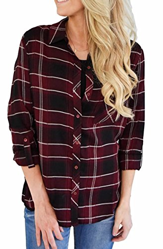 Burgundy Flannel (Sisiyer Women's V Neck 3/4 Cuffed Sleeve Plaid Blouse Tops Burgundy Medium)