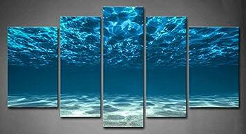 Magnificent Amazon Com 5 Panel Wall Art Blue Ocean Bottom View Beneath Largest Home Design Picture Inspirations Pitcheantrous