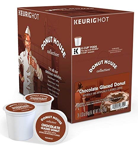 Donut House Collection Chocolate Glazed Donut Keurig Single-Serve K-Cup Pods, Light Roast Coffee, 48 Count (Chocolate Covered Donuts)