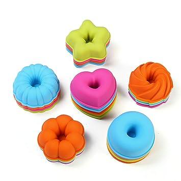 24 moldes para pastelitos de donuts establecidos por KeepingcooX- Molde para postres acanalados de silicona