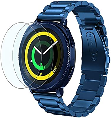 Maxjoy Compatible Samsung Galaxy Watch 42mm Bands,20mm Solid Stainless Steel Metal Strap Bracelet Watch Bands with 2pcs Screen Protector Replacement ...