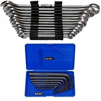 KETSY 829 Set of 2 (KETSY 817 (12-Piece Combination Spanner (7mm, 8mm, 9mm, 10mm, 11mm, 12mm, 13mm, 14mm, 15mm,17mm, 19mm and 22 mm+ 9 Pcs.allen key Set)