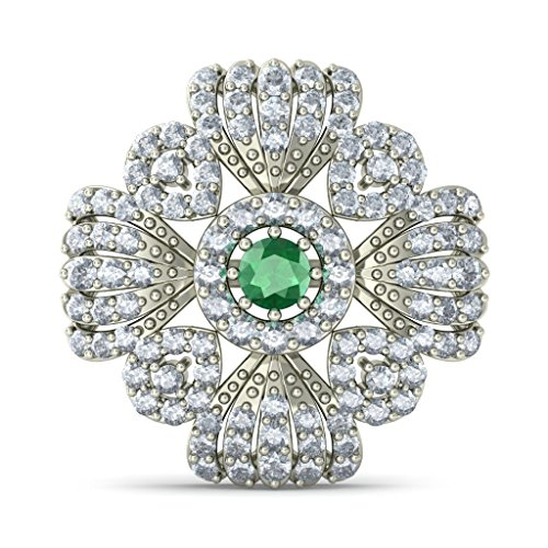 18K Or Blanc 1.2CT TW Round-cut-diamond (IJ | SI) et Boucles d'Oreille à tige Émeraude