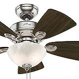 Cheap Hunter Fan 34 inch Brushed Nickel Finish Casual Ceiling Fan with Light Kit (Certified Refurbished)