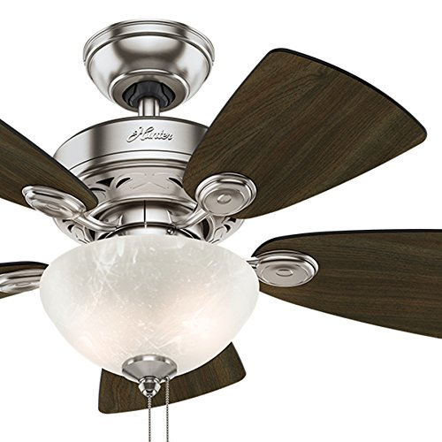 Hunter Fan 34 inch Brushed Nickel Finish Casual Ceiling Fan with Light Kit Renewed