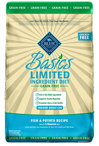 Blue Buffalo Basics Limited Ingredient Diet Grain Free, Natural Indoor Adult Dry Cat Food, Fish & Potato ()