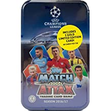 2016 2017 Topps UEFA Champions League Match Attax Card Game MEGA Collectors Tin with 60 Cards and a Bonus Gold Limited Edition Card