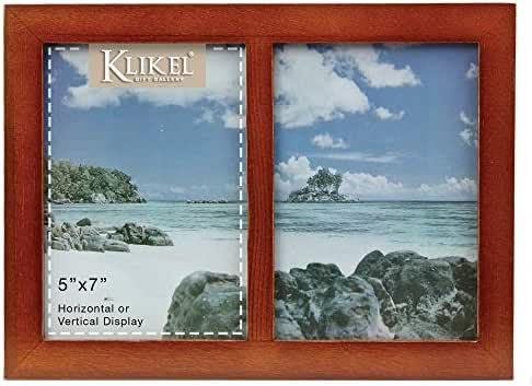 Klikel 2 Photo Collage Solid Walnut Brown Wood Picture Frame - 2 Opening 5 X 7 Picture Slots