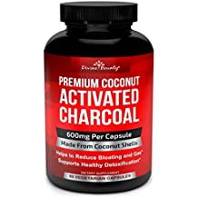 Organic Activated Charcoal Capsules - 600mg Coconut Charcoal Pills - Active Charcoal Powder Used for Gas Relief, Detox, Teeth Whitening, Bloating - 90 Veggie Caps