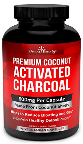 Organic Activated Charcoal Capsules 600mg Coconut Charcoal Pills Active Charcoal Powder Used for Gas Relief, Detox, Teeth Whitening, Bloating 90 Veggie Caps
