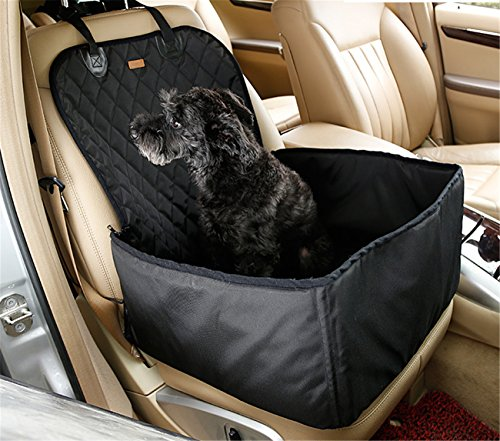 Removable See Through Headrest (SHIGOO ART 2 in1 Pet Front Seat Cover for Cars,Durable and Machine Washable Pet Seat Covers WaterProof & Nonslip Rubber for All Cars, Trucks & SUVs (BLACK))