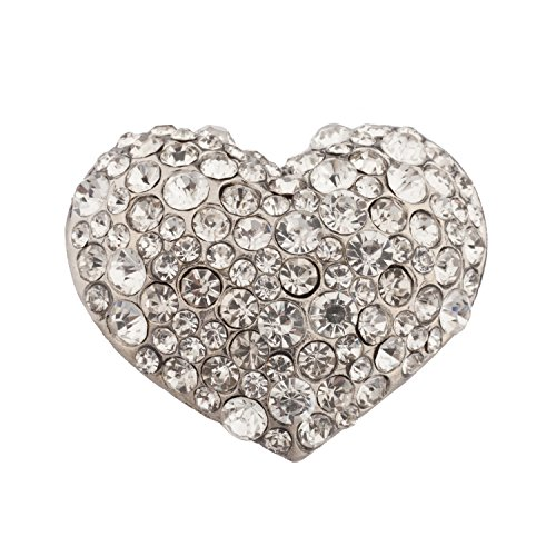 Lux Accessories Heart Stone Studded Stretch (Heart Stretch Ring)