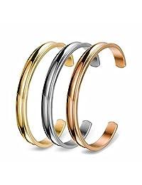 omodofo Stainless Steel Bracelet Elastic Hair Bands Holder Grooved Cuff Bangle for Women