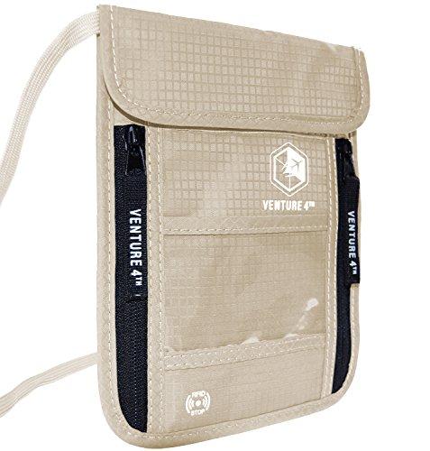 Venture4th Passport Holder Neck Pouch With RFID Blocking The # 1 Travel Wallet (Beige)