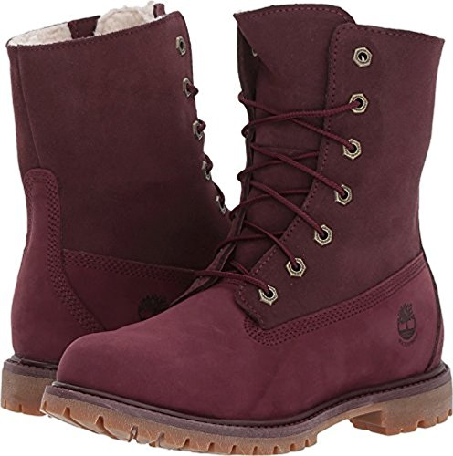 Timberland Women's Authentics Teddy Fleece Fold-Down Dark Red Nubuck 5.5 B US