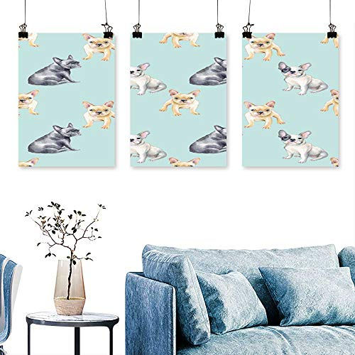 SCOCICI1588 3 Panel Canvas Wall Art  French Bulldog pet Puppy backgroun imal Wallpaper to Hang for Living Room No Frame 12 INCH X 12 INCH X 3PCS