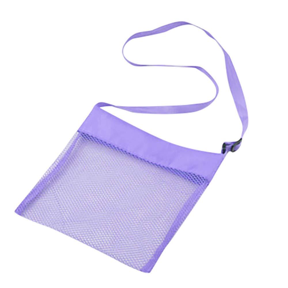 ❤️ Mealeaf ❤️ Beach Mesh Bag Pouch Kid's Children's Fun Toys Sea Shell Storage Bag Beach Fun(Purple,)