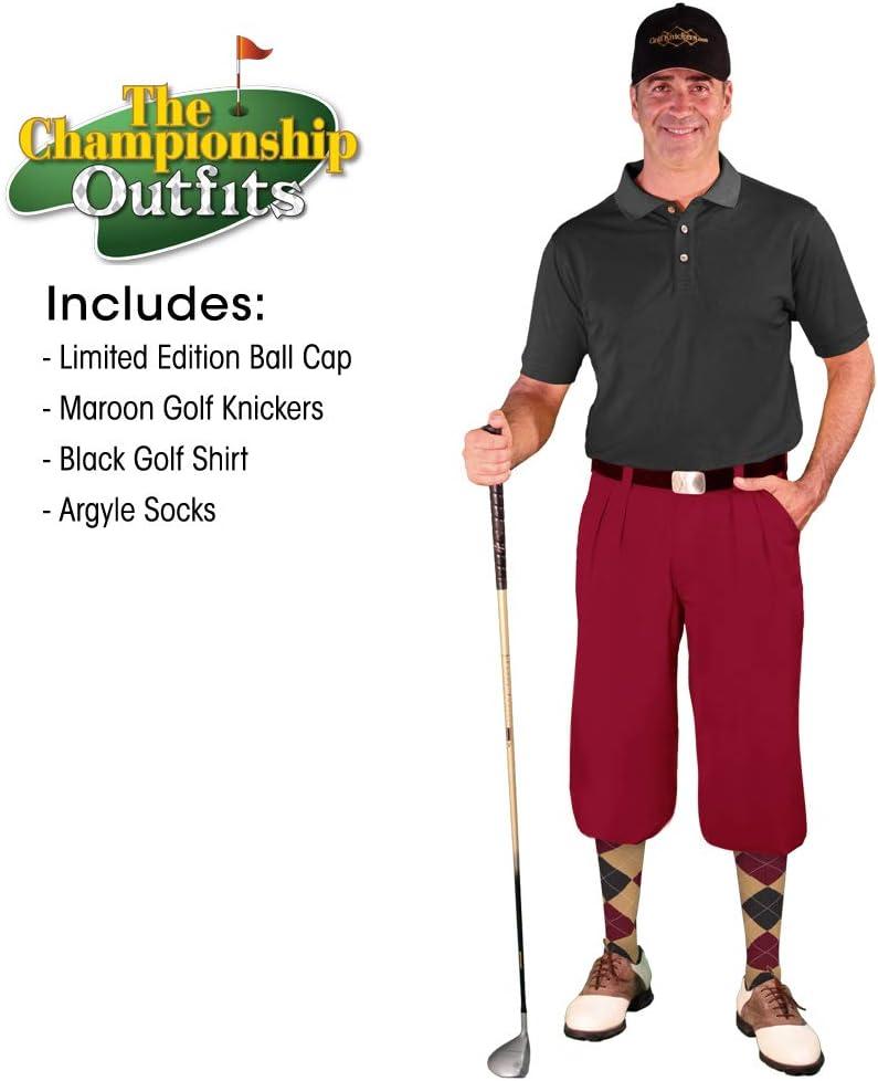 メンズゴルフKnicker Outfit – MaroonマイクロファイバーゴルフKnickers、Limited Editionボールキャップ、over-the-calfアーガイルソックス、カーキコットンゴルフシャツ Waist-34 Shirt Size - Large