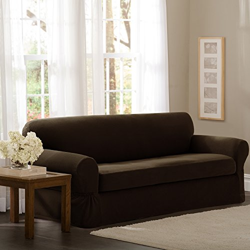Maytex Pixel Stretch 2-Piece Sofa Slipcover, Chocolate