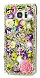 STENES Galaxy J3 Prime Case - 3D Handmade Luxury Crystal Stars Rose Flowrs LOVE Sparkle Rhinestone Design Cover Bling Case For Samsung Galaxy J3 Prime With Retro Bows Anti Dust Plug - Colorful