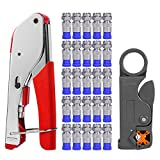 Coax Cable Crimper, Coaxial Compression Tool Kit Wire Stripper with F RG6 RG59 Connectors