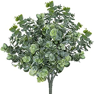 TEMCHY Artificial Flowers, Fake Outdoor UV Resistant Boxwood Shrubs Faux Plastic Greenery Plants for Outside Hanging Planter Patio Yard Wedding Indoor Home Kitchen Farmhouse Decor 10