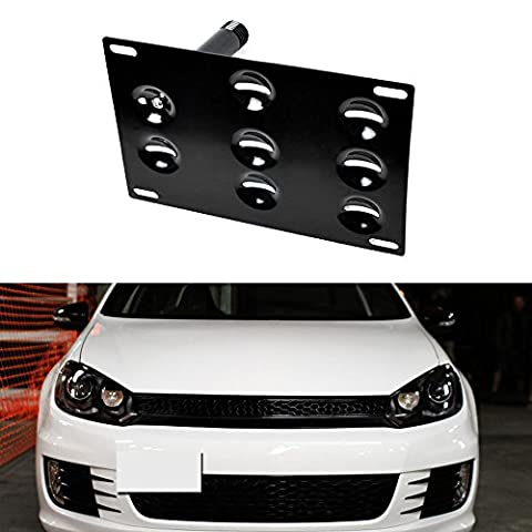 iJDMTOY Euro Style Front Bumper Tow Hole Adapter License Plate Mounting Bracket For Volkswagen MK5 MK6 Golf GTi Rabbit R32 EOS, Audi TT, - 2006 Tow Bar